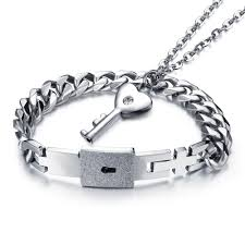 lock key pendant necklace images Couple jewelry for lovers stainless steel women necklace men jpg