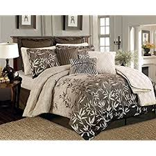 Tropical Comforter Sets King Amazon Com 12 Pieces Brown Beige Bamboo Leaves Tropical Comforter