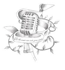 headphone and microphone tattoo on left sleeve