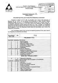 bureau vall dole dole department advisory no 1 series 2015 labor code of the philip