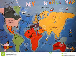 Map Of Thw World by Child U0027s Drawing Of Map Of The World Royalty Free Stock Photography
