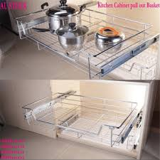 kitchen cabinets baskets 1pc kitchen pantry pull out sliding metal basket drawer storage