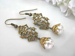 vintage wedding jewelry vintage style brass and leaf filigree with white glass
