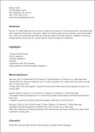 job resume sles for high students 1 forever 21 sales associate resume templates try them now