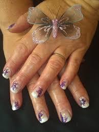 white tip flower design nail art gallery