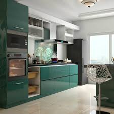 modular kitchen design ideas glossy green cabinets infuse vitality to this kitchen modular