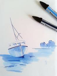 drawn yacht rowing boat pencil and in color drawn yacht rowing boat