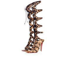 christian louboutin academa leather light gold white ivory red