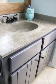 diy vanity makeover using concrete overlay