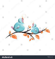 Elements Home Decor Cute Birds Topknot On Tree Branch Stock Vector 648672205