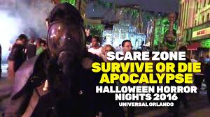halloween horror nights parking survive or die apocalypse scare zone at halloween horror nights