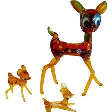 japan glass figurines deer big eyed mid century big