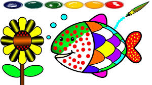 how to draw fish coloring page cute fishes for kids to learn