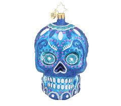 christopher radko la calavera day of the dead skull glass