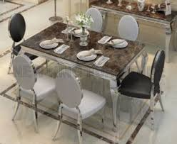 marble and stainless steel dining table china luxury european stainless steel dining table designs with