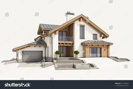 3d rendering modern cozy house chalet stock illustration 674100268