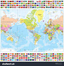 World Map Country Flags Centered America Political World Map All Stock Vector 589957367