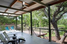 Patio Metal Roof by Minimal Porch Covering This One Using A Low Slope Corrugated