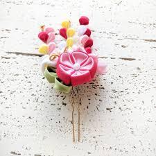 kanzashi hair pin butterfly fabric dangling flower fringes two leg hair