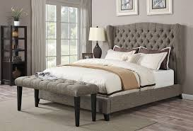 grey linen fabric upholstered bed