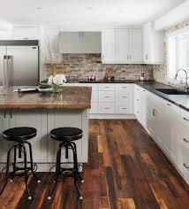 kitchen island wood countertop acacia wood flooring kitchen transitional with integrated kitchen
