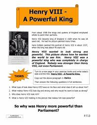 henry viii the power of the king worksheet year 8 study