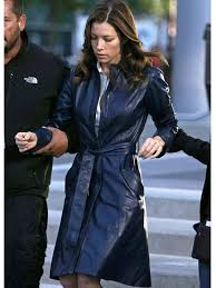 jessica biel coat blue a team leather trench coat