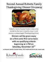second annual thanksgiving dinner giveaway forest lake minnesota