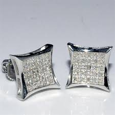 diamond back earrings earrings mens kite shape princess cut style pave 2ctw
