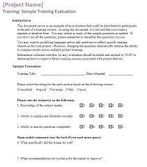 training feedback questions sample training feedback forms 16