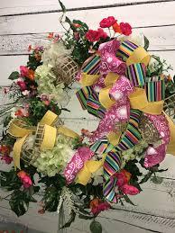 beautiful spring wreath summer wreath front door wreath silk
