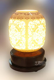 gray stain ceramics table lamp body features brown fabric table