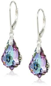 purple earrings vitrial light purple swarovski elements