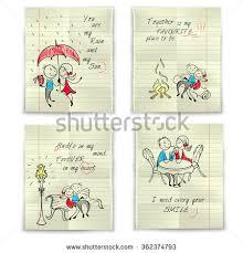 doodle valentines day scrapbook love greeting stock vector