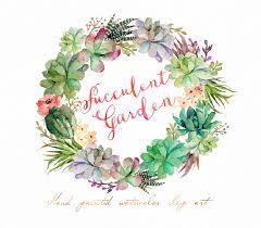 succulent wreath watercolor succulent wreath succulent garden individual png