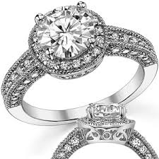 vintage halo engagement rings forever one moissanite antique halo engagement ring