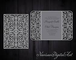 5x5 floral gate fold wedding invitation laser cut card