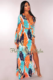 maxi dress with sleeves tangerine teal palm print faux wrap sleeves maxi dress