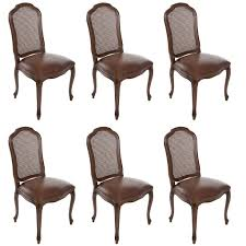 set of 6 italian french louis xv cane back dining side chairs