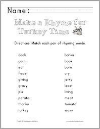 thanksgiving rhyming words worksheet student handouts