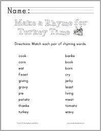 printable rhyming words thanksgiving rhyming words worksheet student handouts