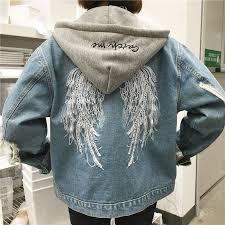 Light Jean Jacket Yasong Women Girls Loose Fit Long Sleeve Vintage Denim Light Wash
