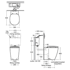 ideal standard concept freedom raised height back to wall wc pan