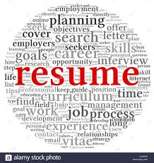 the word resume resume concept in word tag cloud on white background stock photo