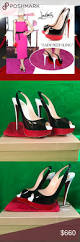 auth christian louboutin lady peep sling 38 5 shoes heels
