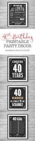 Nostalgic Home Decor 40th Birthday Printable Party Decor Supplies 4 Unique 8x10 Signs