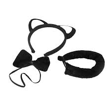 Halloween Costume Cat Ears Funny Black Cat Ears Headband Bow Tie Tail Halloween Party