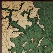 Map Boston Boston Harbor Wood Map 3d Nautical Topographic Chart Framed Art