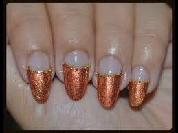 easy nail art for prom copper nails with gold beads youtube
