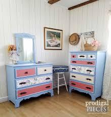 Blue Bedroom Sets For Girls U0027s Bedroom Set Refreshed With Paint Paper U0026 Pulls Prodigal